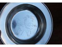 Vintage Boxed Childs Bowl Cup Dana Stainless Noahs Ark Danish Steel Denmark Nursary Christenng Gift
