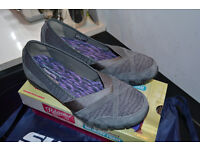 Skechers Relaxed Fit Biker Satine Charcoal Grey Shoes