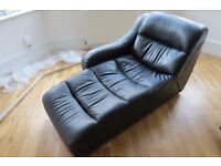 Black Premium Leather Chaise Longue Lazy Boy Sofa Chair - Excellent condition