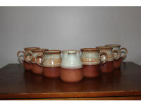 Vintage Set of 6 Cups / Mugs And a Milk Jug Glazed Pottery Possiblly Handthrown Tea Set Coffee