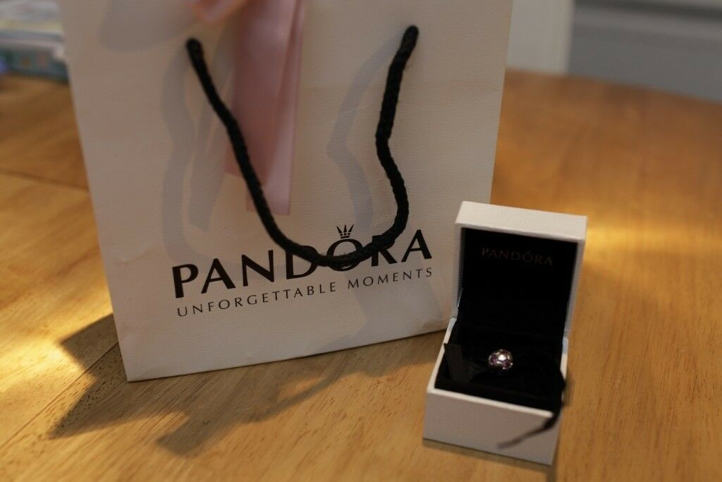 03d342a4a3a *PANDORA* PINK JEM SPARKLING CHARM/BEAD with BOX & BAG !UNUSED!
