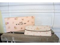BRAND NEW Coach Floral Soft Wallet Leather Chalk White Pink Charms Gift Box Purse Clutch