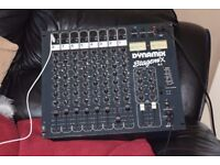 DYNAMIX 8 CHANNEL DJ MIXER DUAL AUX IN CAN BE SEEN WORKING