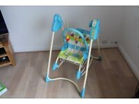 Musical 3-in-1 Swing, an infant seat and a toddler rocker.