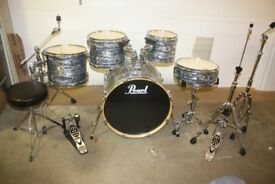 Pearl EXR Black Strata 5 Piece Full Drum Kit (22in Bass) + All Stands + Cymbal set + Stool