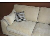 Beautiful cream fabric sofa with cushions in perfect condition as new £230