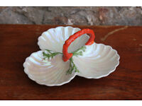 Unusual Vintage Carlton Ware 3 Shell Ceramic Serving Dish With Coral Look Handle