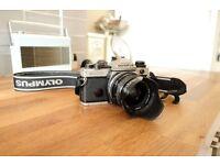 Olympus OM-4TI 35mm SLR Film Camera + 2 Lenses: 28mm f/2.8 + 50mm f/1.8