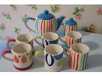 Whittard Teapot, Sugar Pot & 6 Espresso Cups