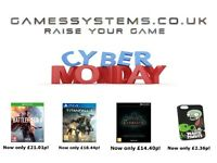 Amazing prices this Cyber Monday on Xbox One PS4 Wii U 3DS PS Vita Xbox 360 PS3 Wii DS PSP items!