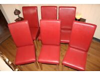 6 dining chairs red faux leather