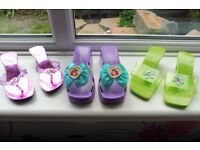 3 pairs of princess dressing up shoes including disney little mermaid