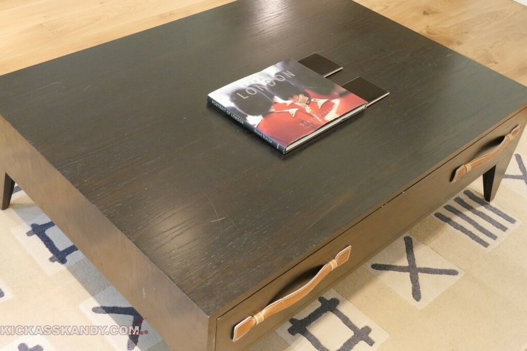 Real Solid High Quality Dark Brown Wooden Large Coffee Table With Massive Drawer Pick Up