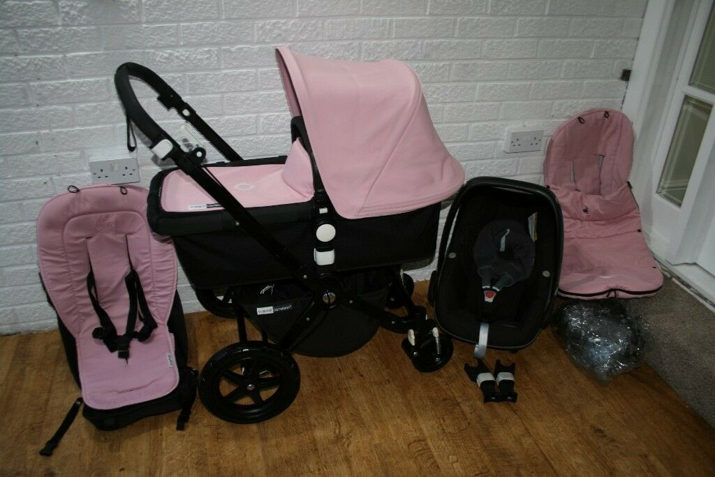 Bugaboo Cameleon Cam 3 Pram With Car Seat In 1 Soft Pink Black CAN
