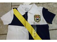 RALPH LAUREN Lovely White & Navy Mix Big Pony Polo Shirt Size 18M RRP £40+
