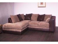 Black/Grey Or Brown/Mink- New BYRON Jumbo Cord Corner or 3 and 2 Seater Sofa Suite --High Quality--