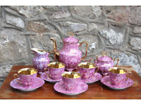 Vintage Purple Tea Set Coffee Set Gold Gilded Walbrzych Polish Porcelain Cup Saucer Jug Coffee Pot