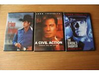 THREE INDIVIDUALLY CASED JOHN TRAVOLTA FILMS - THE GENERALS DAUGHTER - URBAN COWBOY - A CIVIL ACTION