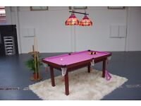 Pink Purple 6ft Pool Table, cues, balls, chalk, triangle