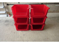 6 x ADDIS Red Stackable Storage Boxes for Home / Garage / Workshop / Loft