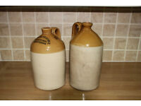 2 stoneware flagons 1 gallon size