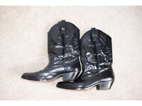 Cowboy Boots Black Leather