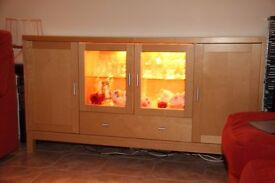 Illuminated beech glass-fronted display cabinet/sideboard