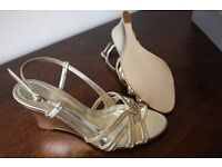 Disco Gold Wedge Party Shoes - John Lewis - Unused - Size 4/37