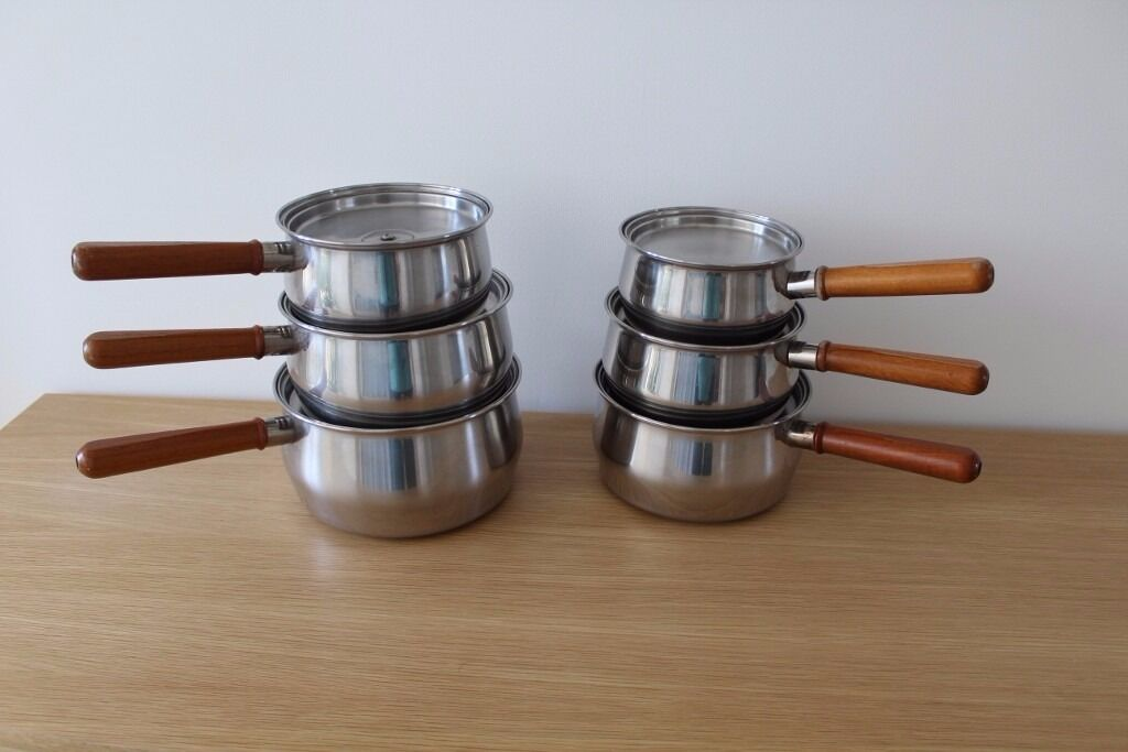 Prestige stainless steel with copper bottom saucepan set