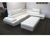 White large leather corner sofa with XL footstool