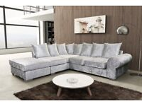 MODERN DESIGN,CRUSHED VELVET CORNER SOFAS AVAILABLE IN BLACK OR SILVER **FREE DELIVERY