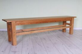 HANDMADE SOLID PINE FARMHOUSE BENCH SEAT, ALMOST 6 FT WAXED FINISH - UK WIDE DELIVERY