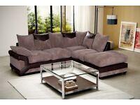 🛑⭕ GREY BLACK OR BROWN BEIGE🛑⭕ Brand New Dino Jumbo cord Corner or 3 + 2 Sofa Set in