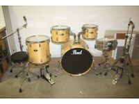 Pearl Vision VBL Natural Lacquered 5 Piece Drum Kit 22in Bass Sabian Pro Sonix Cymbals - £625 ono