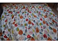 Handmade curtains, modern leaf design fabric