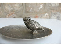 Vintage Owl Bird Silver Plated Ring Holder Jewellery Tray Ring Dish Trinket Dish Made by Seba