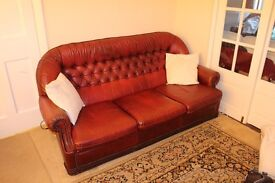 sofa, 2 armchirs, red leather
