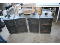 set of four vintage speakers