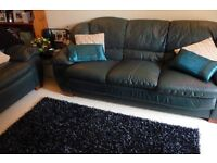 Leather comfy 3 Seater Sofa in Teal