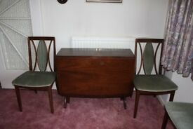 G plan Gate leg table and 4 chairs Mahogany