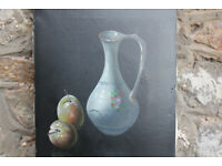 Original Vintage Painting Still Life Fruit Signed. Plums Vase Signed by Artist Picture Art Canvas