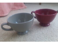Large retro-style French bowls with handles x 2 - for that 'café au lait' or soup …
