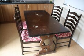 Mahogany Dining Table + 4 Chairs, Re upholstered seats