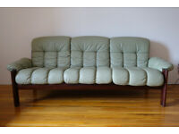 Ekornes Stressless 'Montana' Sofa In Pistachio Leather With 2 x Silk and Feather Cushions