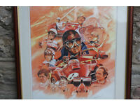 Large Limited Edition Print Commerating 50 Years of Ferrari Racing by Craig Warwick Signed & Framed