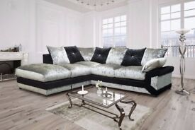 🔥💥CLASSIC SAL🔥💥 NEW DOUBLE PADDED DINO CRUSHED VELVET CORNER SOFA OR 3 AND 2 SOFA