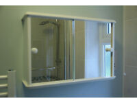 Bathroom Cabinet with two sliding mirror doors.