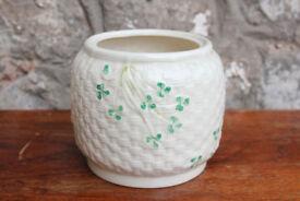 Vintage Belleek Pottery Basket Weave Biscuit Barrell / Planter Vase Irish Ireland Shamrock