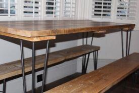 Handmade reclaimed scaffolding board dining table