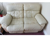 Cream Leather Sofa Two Seater Settee with double recliners For Quick Sale